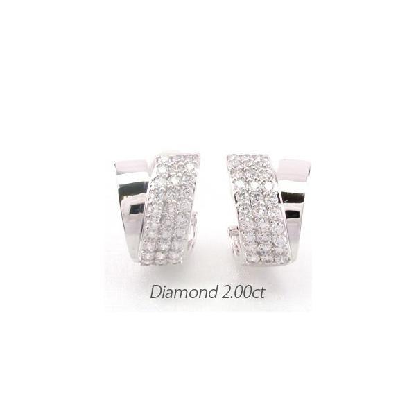 ダイヤモンド イヤリング レディース クリップ ゴールド 18k ピアス パヴェ 2.00ct V字 18金 K18