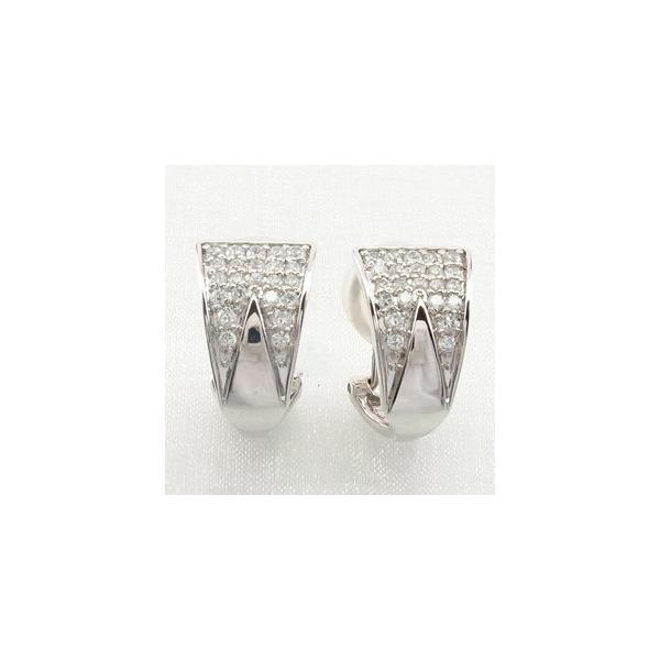 ダイヤモンド イヤリング レディース クリップ ピアス プラチナ 900 パヴェ トライアングル 三角形
