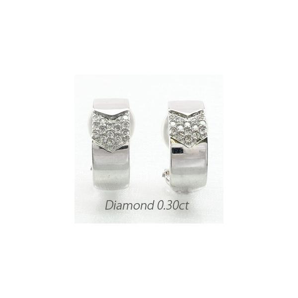 ダイヤモンド イヤリング レディース クリップ ゴールド 18k ピアス パヴェ スクエア 18金 K18