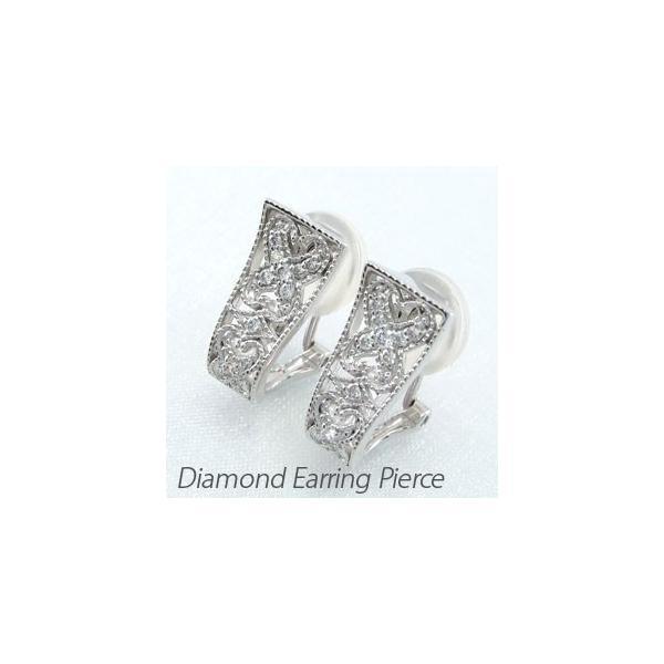 ダイヤモンド イヤリング レディース クリップ ピアス プラチナ 900 アンティーク ミル 透かし