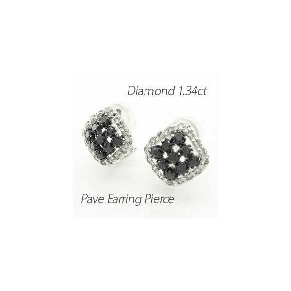 ブラックダイヤモンド イヤリング レディース クリップ ピアス プラチナ 900 パヴェ スクエア 透かし