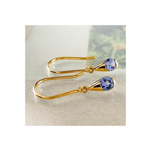 サファイア フックピアス 9月 誕生石 一粒 ドロップ つゆ 揺れる 18金|luire-jewelry|02