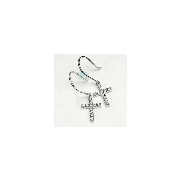ピアス フックピアス クロス ダイヤモンド プレゼント 誕生日 PT900 プラチナ 十字架