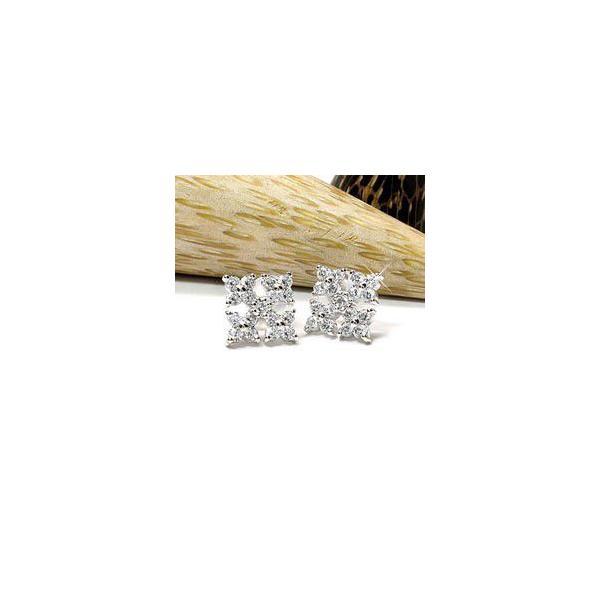 ピアス ダイヤモンドピアス 花 天然ダイヤモンド プレゼント k18ホワイトゴールド 18金 スタッドピアス