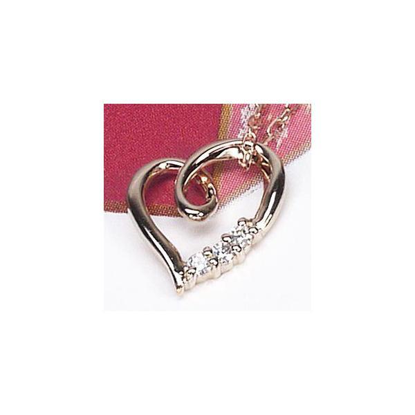 ネックレス ハートペンダント ダイヤ スリーストーン k18ピンクゴールド 18金 天然ダイヤモンド ネックレス luire-jewelry