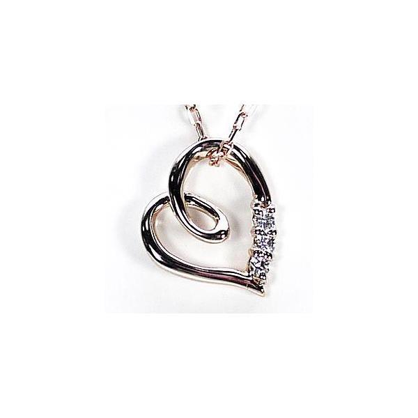 ネックレス ハートペンダント ダイヤ スリーストーン k18ピンクゴールド 18金 天然ダイヤモンド ネックレス luire-jewelry 02