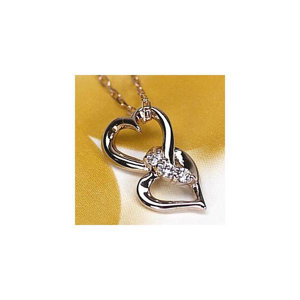ネックレス ハートペンダント ダイヤ スリーストーン k18ピンクゴールド 18金 天然ダイヤモンド ネックレス|luire-jewelry
