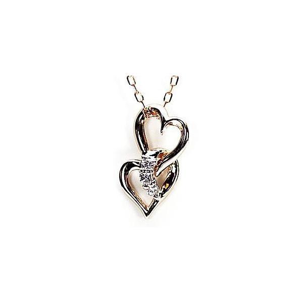 ネックレス ハートペンダント ダイヤ スリーストーン k18ピンクゴールド 18金 天然ダイヤモンド ネックレス|luire-jewelry|02