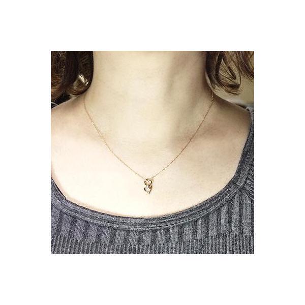 ネックレス ハートペンダント ダイヤ スリーストーン k18ピンクゴールド 18金 天然ダイヤモンド ネックレス|luire-jewelry|03