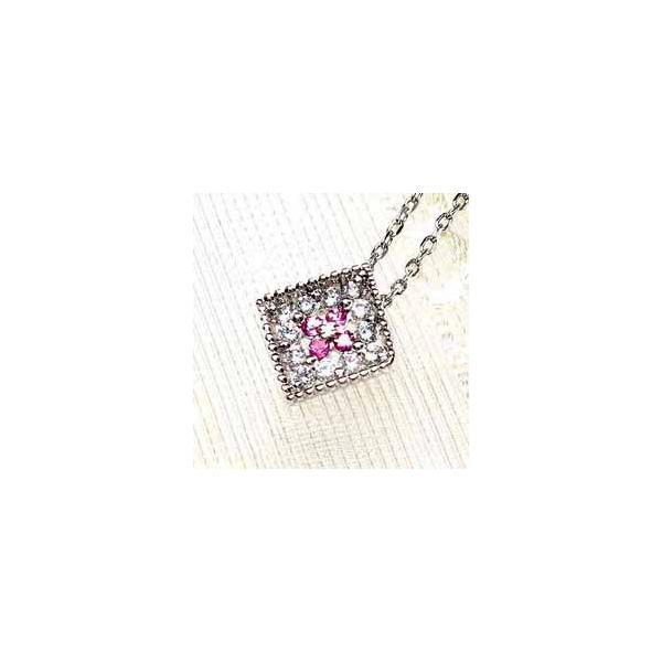 ネックレス ピンクサファイア ペンダント 天然ダイヤモンド k18ホワイトゴールド 四角 スクエアー ネックレス