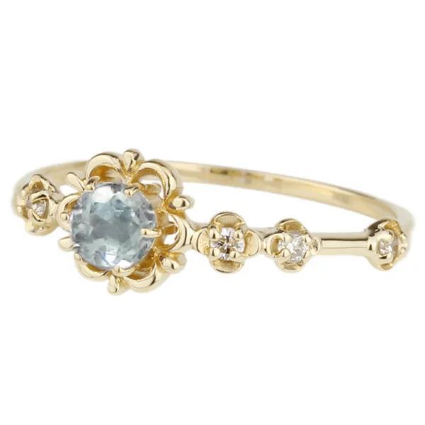 リング アクアマリン ピンキーリング ダイヤモンド パワーストーン K18イエローゴールド 18金 フラワー 花 指輪