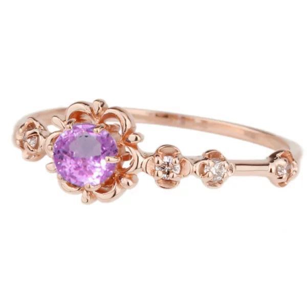 ピンクサファイアピンキーリング ダイヤモンド パワーストーン K18ピンクゴールド 18金 フラワー 花 指輪