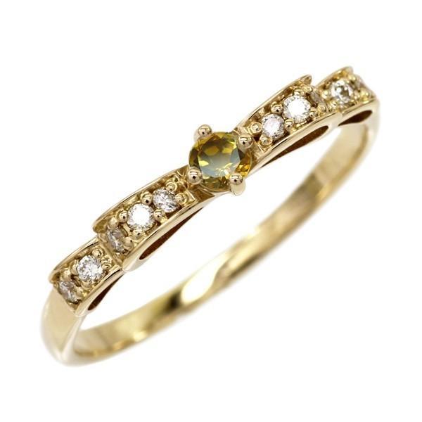 リング シトリン りぼんリング ダイヤモンド パワーストーン K18イエローゴールド 18金 指輪