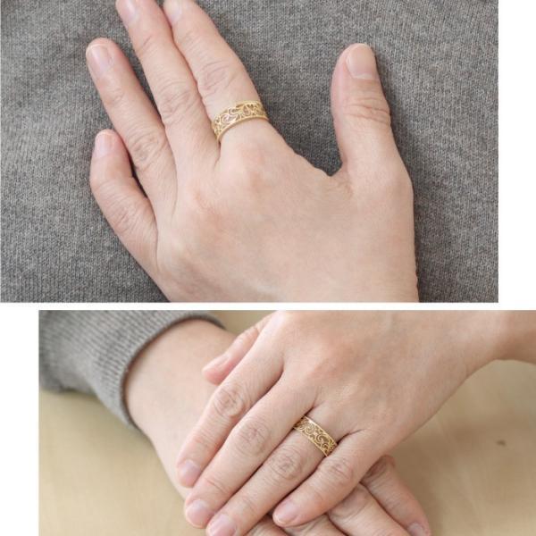 リング レディース 透かし模様 オープンワーク ミル打ち アンティーク シンプル 幅広 エレガント カジュアル 親指 サムリング 18金 K18WG/K18YG/K18PG|luire-jewelry|02