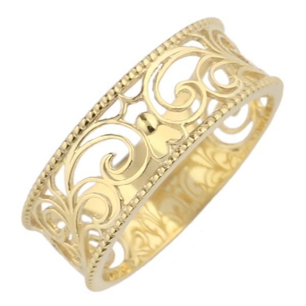 リング レディース 透かし模様 オープンワーク ミル打ち アンティーク シンプル 幅広 エレガント カジュアル 親指 サムリング 18金 K18WG/K18YG/K18PG|luire-jewelry|05