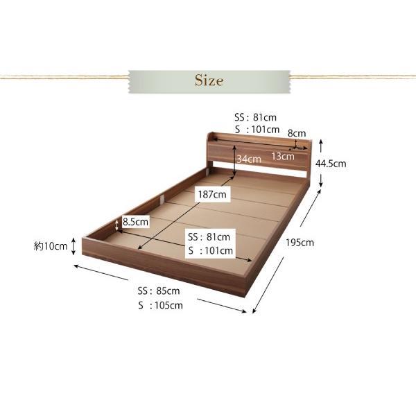 ローベッド シングル ショート丈 〔ベッドフレームのみ〕 宮棚・コンセント付き コンパクト フロアベッド|lukit|21