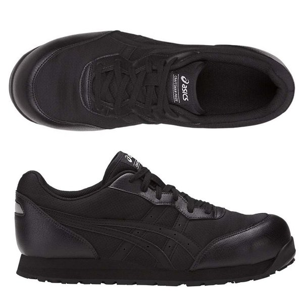 アシックス 安全靴ウィンジョブCP201作業靴FCP201asics安全スニーカーシューレースタイプブラック×ブラックスニ