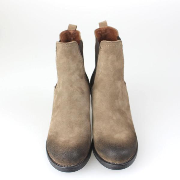 靴 茶スエードショートブーツ