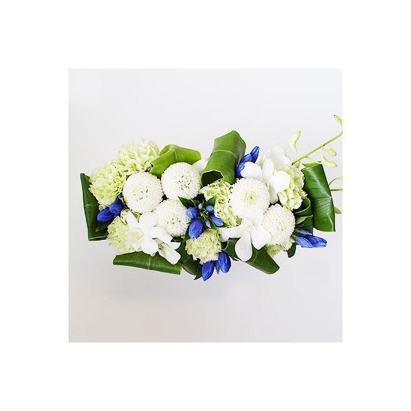 仏事 お供え 花 ルナピエナ・アズーロ(ブルー系白ピンポンのアレンジメント)|lumiere|02