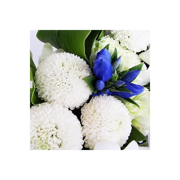 仏事 お供え 花 ルナピエナ・アズーロ(ブルー系白ピンポンのアレンジメント)|lumiere|03