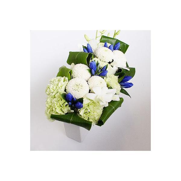 仏事 お供え 花 ルナピエナ・アズーロ(ブルー系白ピンポンのアレンジメント)|lumiere|04