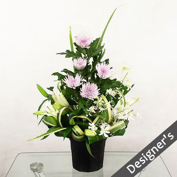 仏事 お供え 花 アナスタシア(ピンク)(ピンク系菊のアレンジメント)|lumiere
