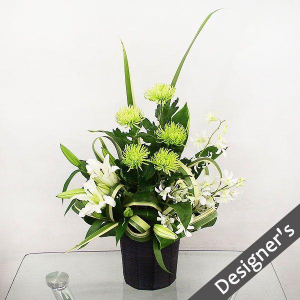 仏事 お供え 花 アナスタシア(グリーン)(グリーン系菊のアレンジメント)|lumiere