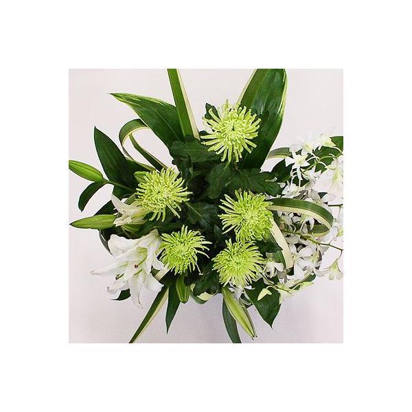 仏事 お供え 花 アナスタシア(グリーン)(グリーン系菊のアレンジメント)|lumiere|02