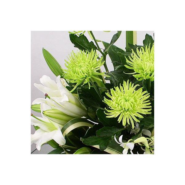 仏事 お供え 花 アナスタシア(グリーン)(グリーン系菊のアレンジメント)|lumiere|03