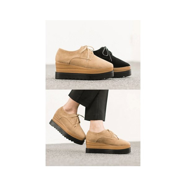 [6.5cm厚底]スエードタッチ オックスフォードシューズ レースアップシューズ ウェッジソール マニッシュ レディース 靴 痛くない 歩きやすい シューズ 新作