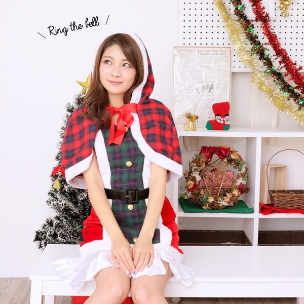 即納可能 PixyParty 【Xmasコスチューム ケープ付きサンタワンピース】 lunastyle-official 03