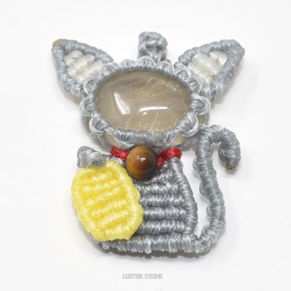 マクラメ マクラメ編み ルチルクォーツ タイガーアイ ストラップ付き ねこ ネコ 猫 天然石 パワーストーン 開運