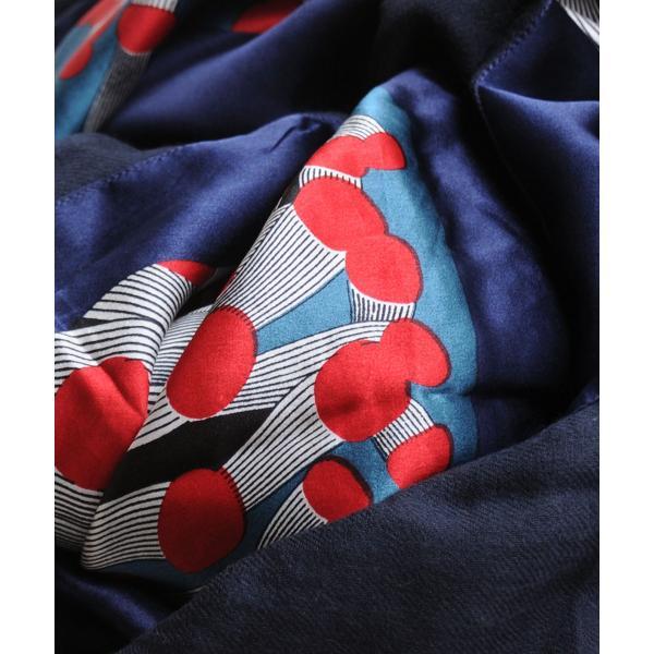CITRUS シトラス ウール ストール 正方形 シルク レッド柄プリント|luvri|05