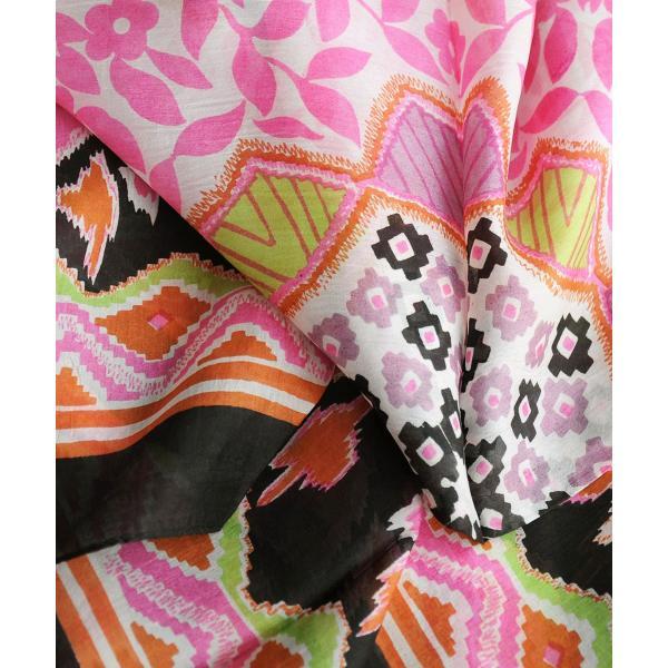 【DM便可 180円】フランスデザイン 正方形  大判シルクスカーフ フ ボタニカル/ブラック|luvri|02