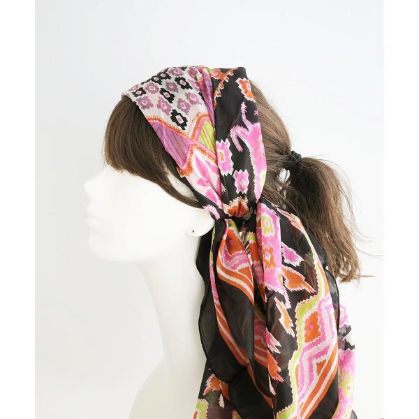 【DM便可 180円】フランスデザイン 正方形  大判シルクスカーフ フ ボタニカル/ブラック|luvri|03