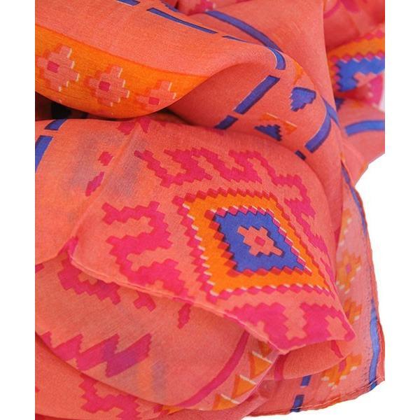 【DM便可 180円】フランスデザイン 正方形 大判シルクスカーフ ジオメトリック/オレンジ|luvri|02
