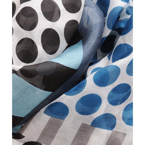 【DM便可 180円】フランスデザイン 正方形  大判シルクスカーフ ドット/ブルー|luvri|02