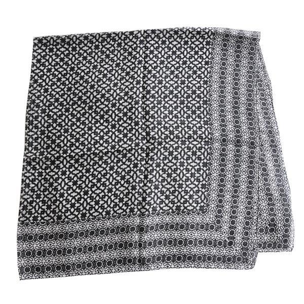【DM便可 180円】フランスデザイン 正方形  大判シルクスカーフ MOSAIQU ブラック luvri