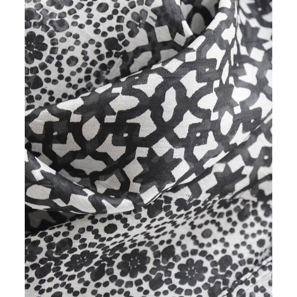 【DM便可 180円】フランスデザイン 正方形  大判シルクスカーフ MOSAIQU ブラック luvri 02