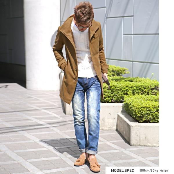 コート メンズ イタリアンカラー メルトン ウール ロングコート アウター 上品 大人 秋冬 ビター系|lux-style|05
