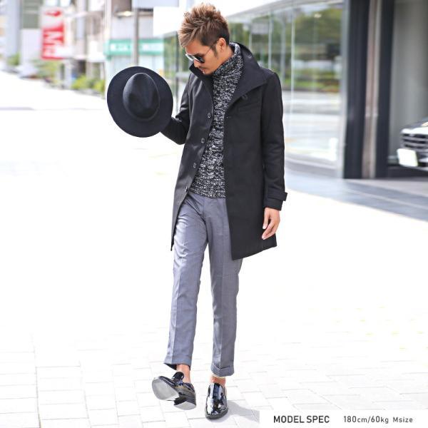 コート メンズ イタリアンカラー メルトン ウール ロングコート アウター 上品 大人 秋冬 ビター系|lux-style|07