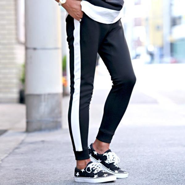 ジョガーパンツ メンズ ポンチ スウェットパンツ サイドライン イージーパンツ|lux-style|03