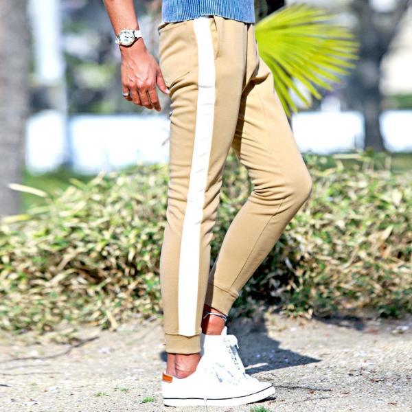 ジョガーパンツ メンズ ポンチ スウェットパンツ サイドライン イージーパンツ|lux-style|07