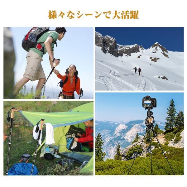 スキーポール トレッキングポール  [在庫一掃セール]登山ストック カーポン製 軽量 丈夫 3段伸縮 ハイキング 登山用 花見 キャンプ [2本セット] enkeeo|luxwell|06