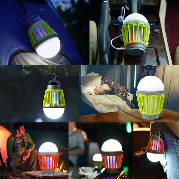 【限定特価】enkeeo 電撃殺虫器 殺虫灯UV光源誘引式 薬剤不要 赤ちゃんやペットにも安心LEDランタン 誘虫灯 蚊取りと照明両用 2000mAh容量 USB充電式 IPX6防水|luxwell|06