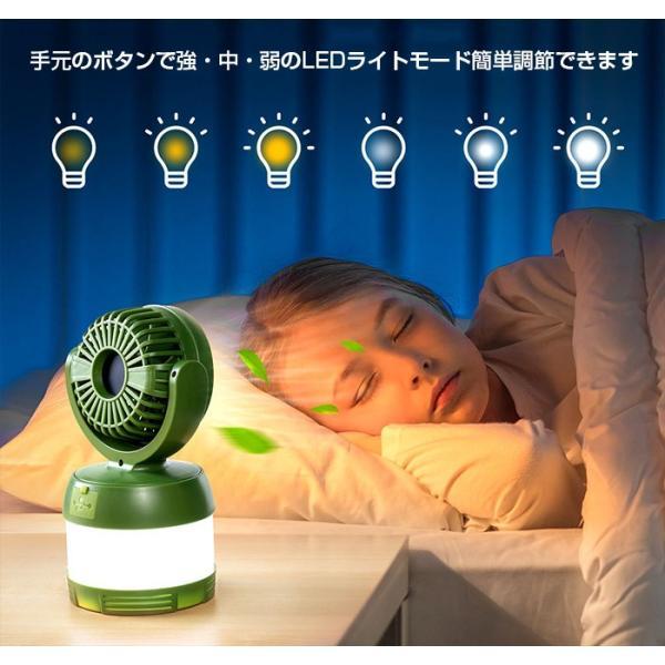 USB扇風機  LEDランタン 1体3役 大容量4000mAh USB充電式 卓上扇風機 LEDライト  防災 キャンプ 夜釣り アウトドアに Enkeeo|luxwell|04