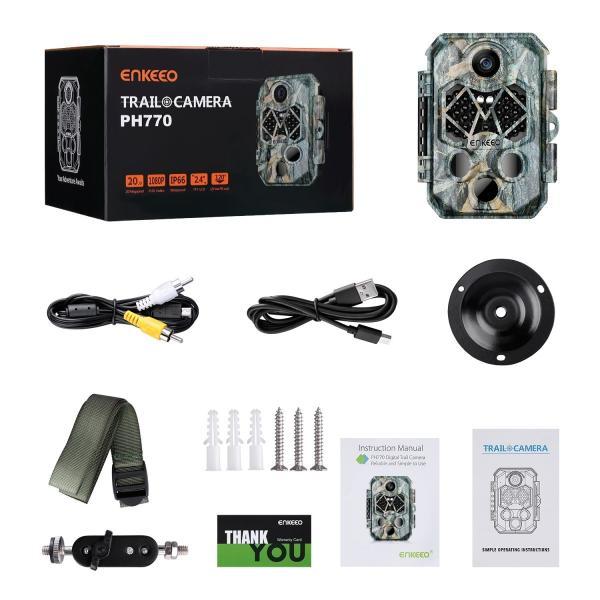 防犯カメラ トレイルカメラ 45赤外線LED 2000万画素 32GBSDカード付き 1080P IP66防水 自動録画 動体検知 暗視 鳥獣害対策 enkeeo 限定特価|luxwell|12
