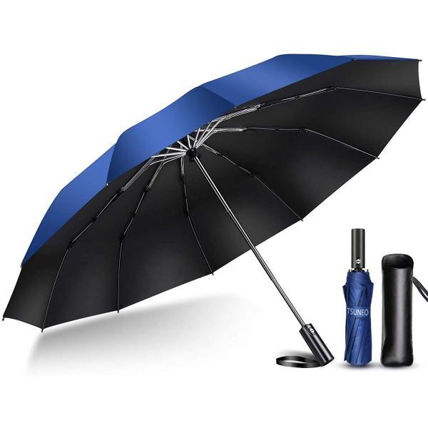 折りたたみ傘折り畳み傘ワンタッチ自動開閉撥水加工丈夫大きい晴雨兼用メンズレディース耐強風梅雨対策大きい頑丈な12本骨収納ポーチ付