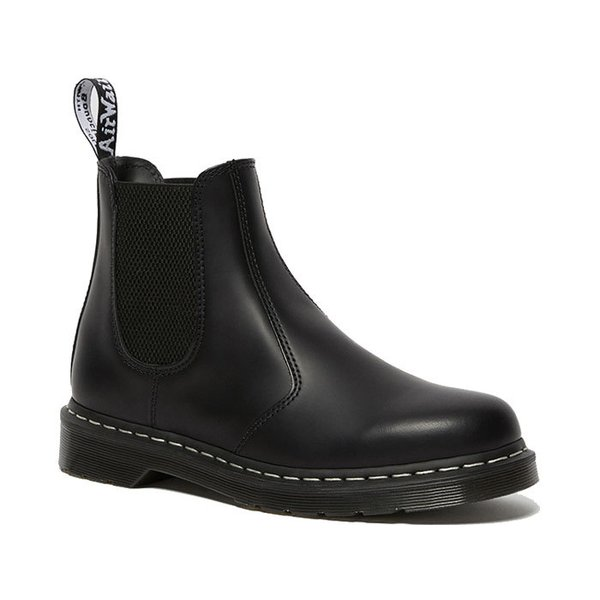 2976 WHITE STITCH LEATHER CHELSEA BOOTS BLACK SMOOTH 26257001