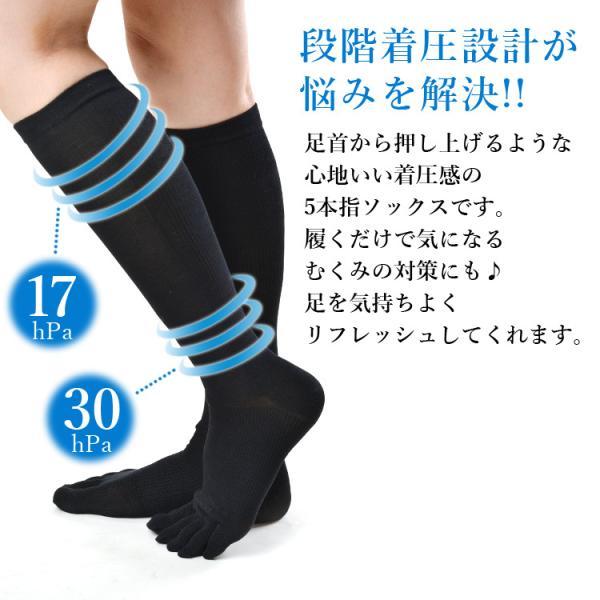 メール便送料無料 3足セット 日本製 5本指ハイゲージ 着圧ハイソックス 靴下 レディース ファッション 夏物|m-mall|07